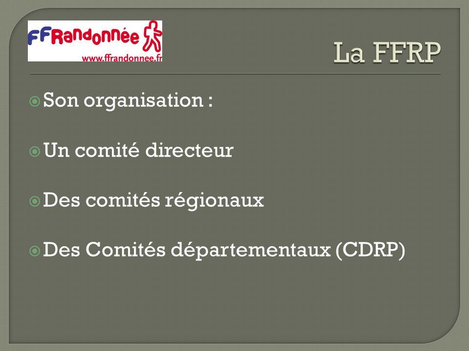 Son organisation : Un comité directeur Des comités régionaux Des Comités départementaux (CDRP)