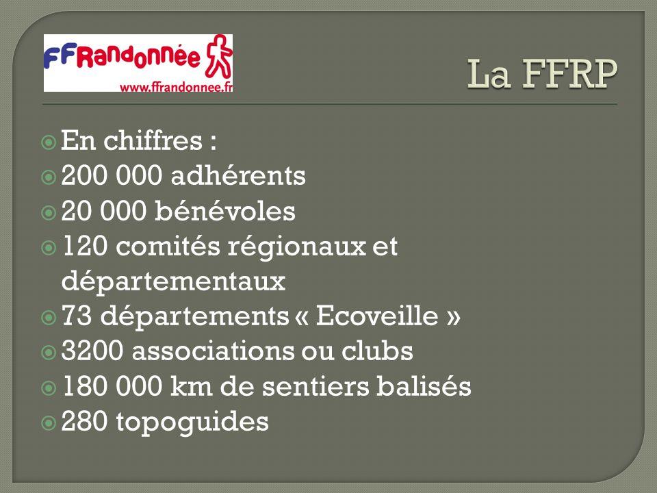 En chiffres : 200 000 adhérents 20 000 bénévoles 120 comités régionaux et départementaux 73 départements « Ecoveille » 3200 associations ou clubs 180