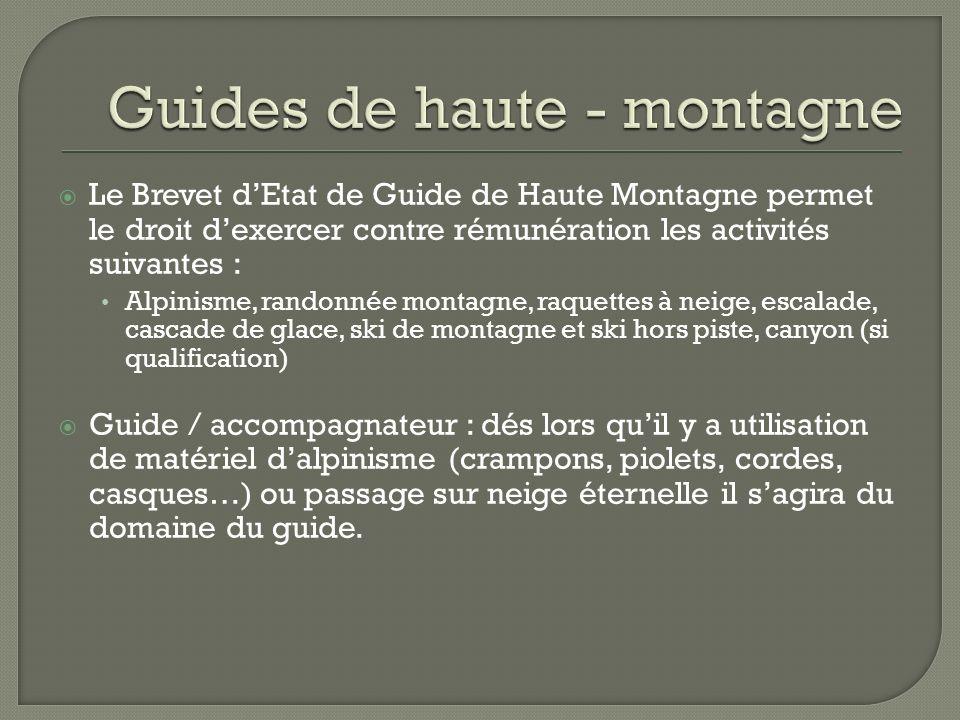 Le Brevet dEtat de Guide de Haute Montagne permet le droit dexercer contre rémunération les activités suivantes : Alpinisme, randonnée montagne, raque