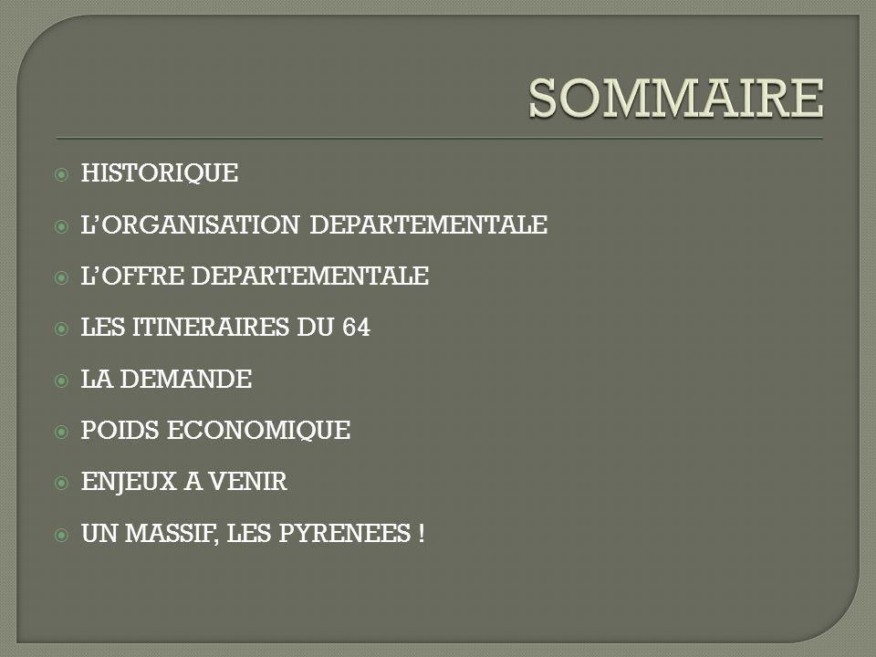HISTORIQUE LORGANISATION DEPARTEMENTALE LOFFRE DEPARTEMENTALE LES ITINERAIRES DU 64 LA DEMANDE POIDS ECONOMIQUE ENJEUX A VENIR UN MASSIF, LES PYRENEES