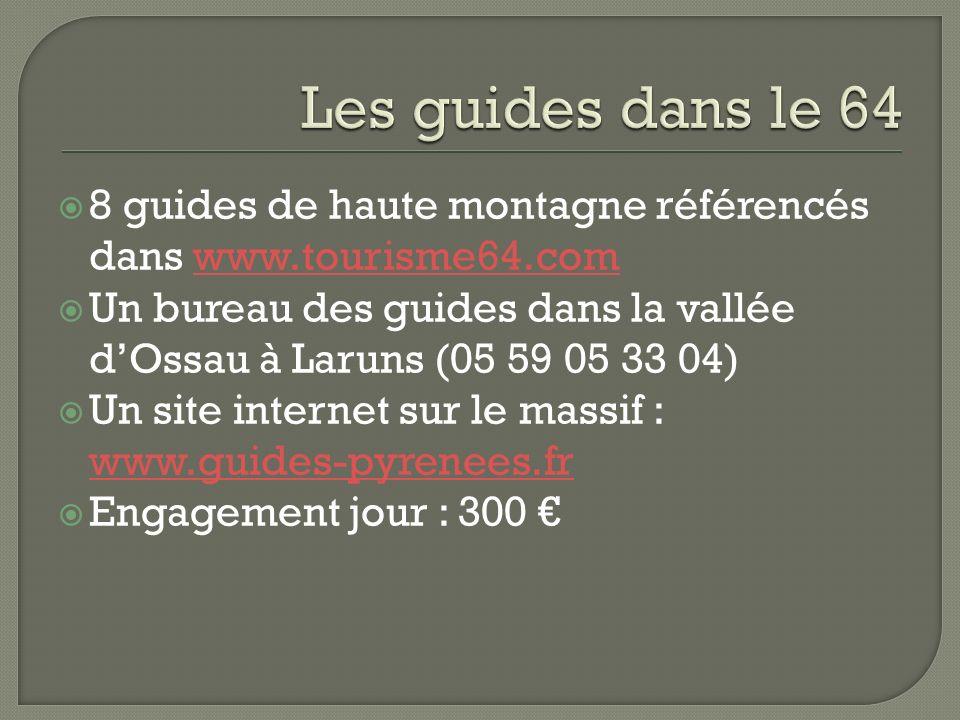 8 guides de haute montagne référencés dans www.tourisme64.comwww.tourisme64.com Un bureau des guides dans la vallée dOssau à Laruns (05 59 05 33 04) U