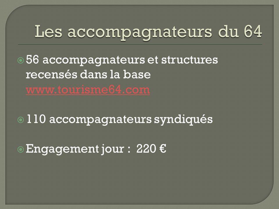56 accompagnateurs et structures recensés dans la base www.tourisme64.com www.tourisme64.com 110 accompagnateurs syndiqués Engagement jour : 220