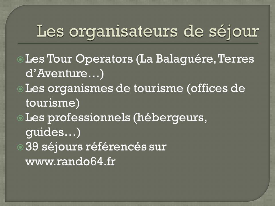 Les Tour Operators (La Balaguére, Terres dAventure…) Les organismes de tourisme (offices de tourisme) Les professionnels (hébergeurs, guides…) 39 séjo