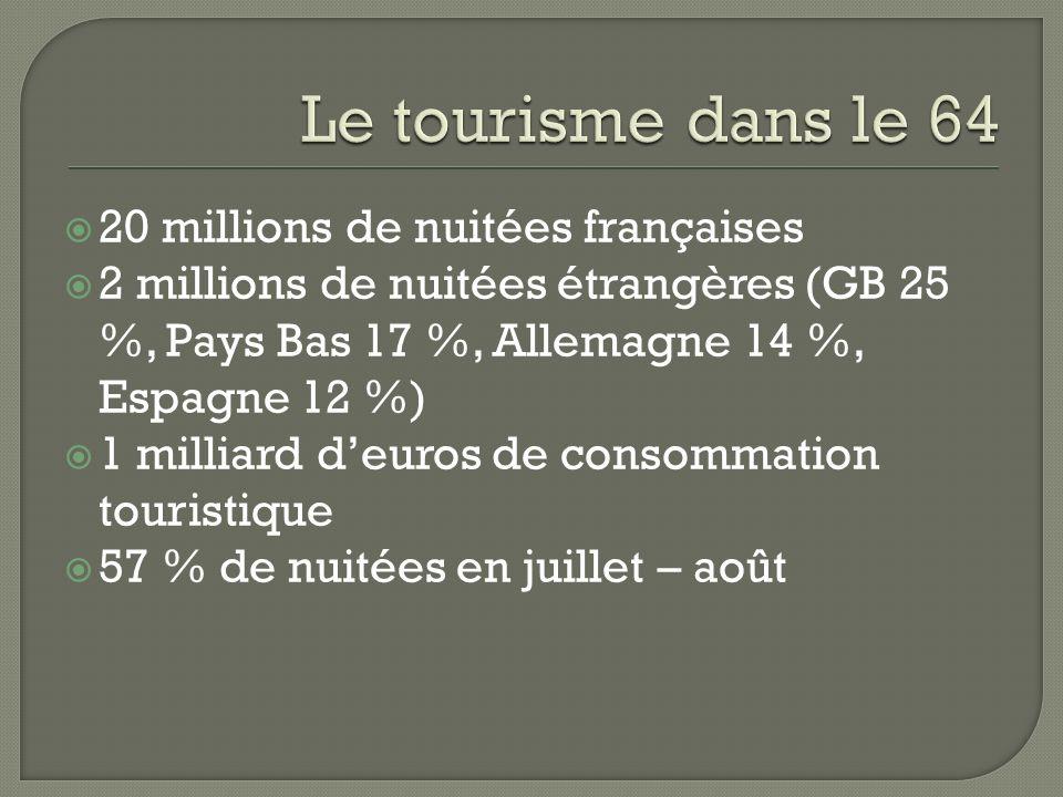 20 millions de nuitées françaises 2 millions de nuitées étrangères (GB 25 %, Pays Bas 17 %, Allemagne 14 %, Espagne 12 %) 1 milliard deuros de consomm