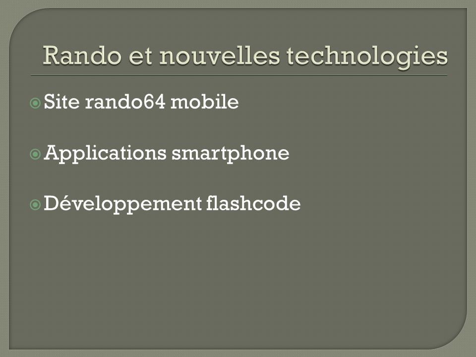 Site rando64 mobile Applications smartphone Développement flashcode
