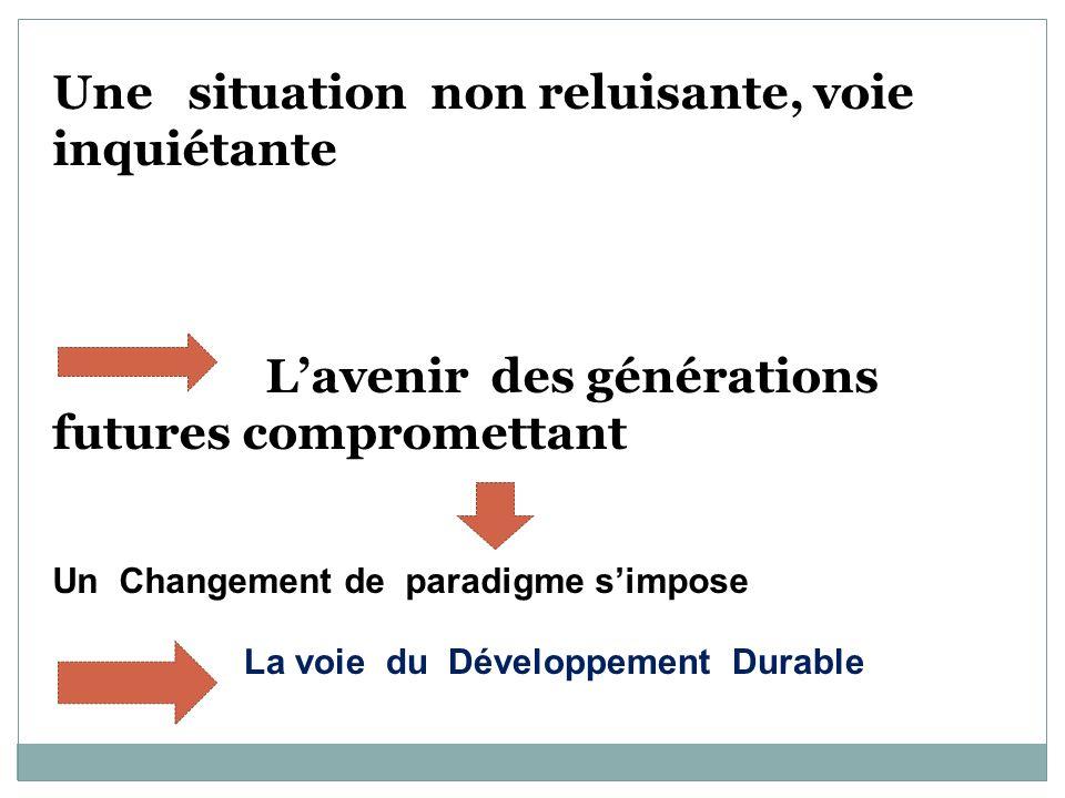 Une situation non reluisante, voie inquiétante Lavenir des générations futures compromettant Un Changement de paradigme simpose La voie du Développeme