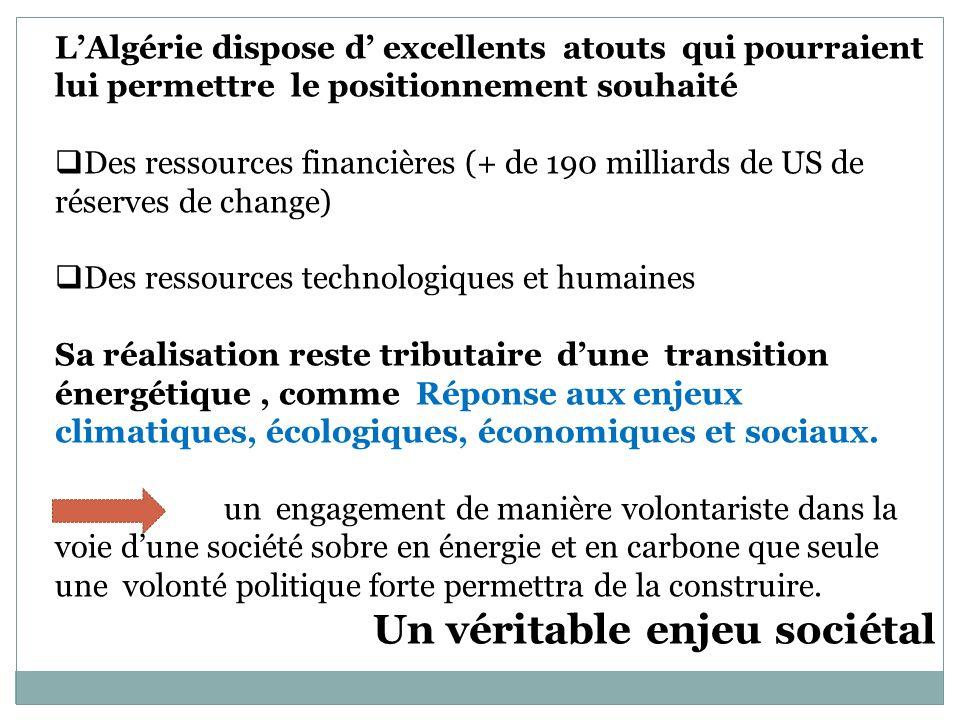 LAlgérie dispose d excellents atouts qui pourraient lui permettre le positionnement souhaité Des ressources financières (+ de 190 milliards de US de r