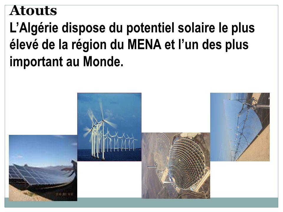 Atouts LAlgérie dispose du potentiel solaire le plus élevé de la région du MENA et lun des plus important au Monde.