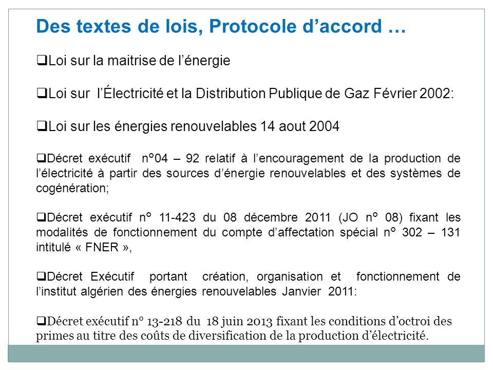 Des textes de lois, Protocole daccord … Loi sur la maitrise de lénergie Loi sur lÉlectricité et la Distribution Publique de Gaz Février 2002: Loi sur