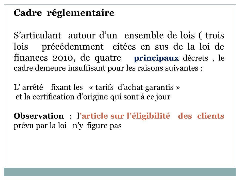 Cadre réglementaire Sarticulant autour dun ensemble de lois ( trois lois précédemment citées en sus de la loi de finances 2010, de quatre principaux d