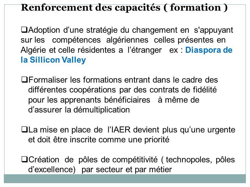 Renforcement des capacités ( formation ) Adoption dune stratégie du changement en s'appuyant sur les compétences algériennes celles présentes en Algér