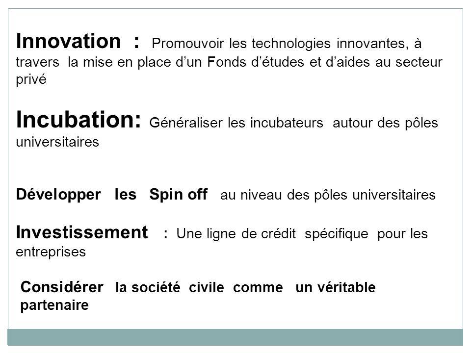 Innovation : Promouvoir les technologies innovantes, à travers la mise en place dun Fonds détudes et daides au secteur privé Incubation: Généraliser l