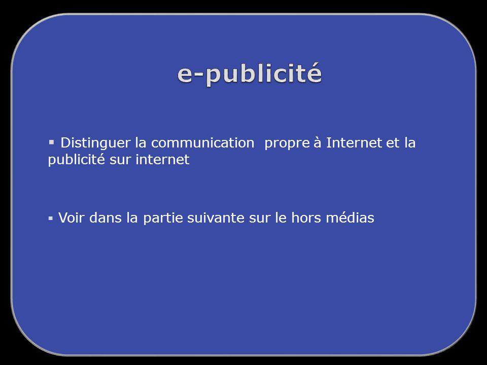 Distinguer la communication propre à Internet et la publicité sur internet Voir dans la partie suivante sur le hors médias