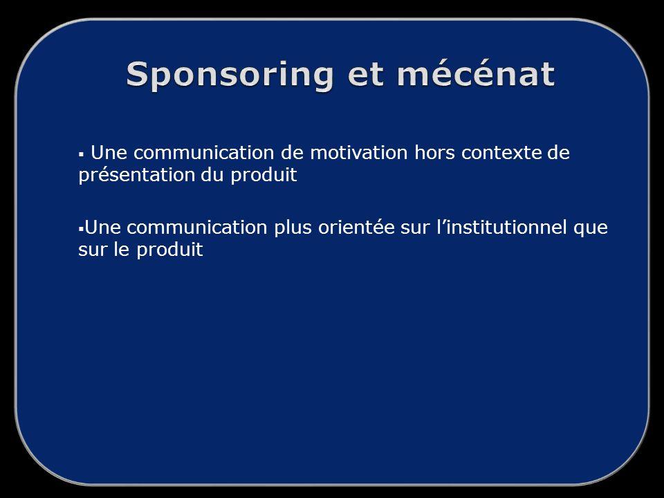 Une communication de motivation hors contexte de présentation du produit Une communication plus orientée sur linstitutionnel que sur le produit