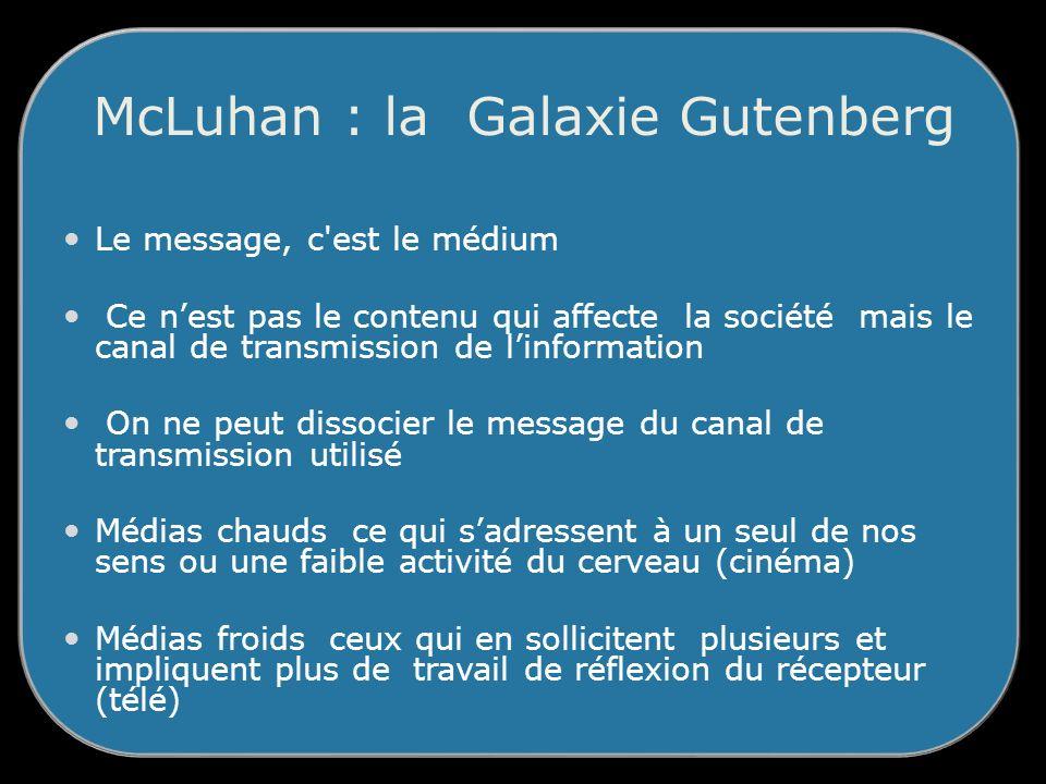 McLuhan : la Galaxie Gutenberg Le message, c est le médium Ce nest pas le contenu qui affecte la société mais le canal de transmission de linformation On ne peut dissocier le message du canal de transmission utilisé Médias chauds ce qui sadressent à un seul de nos sens ou une faible activité du cerveau (cinéma) Médias froids ceux qui en sollicitent plusieurs et impliquent plus de travail de réflexion du récepteur (télé)