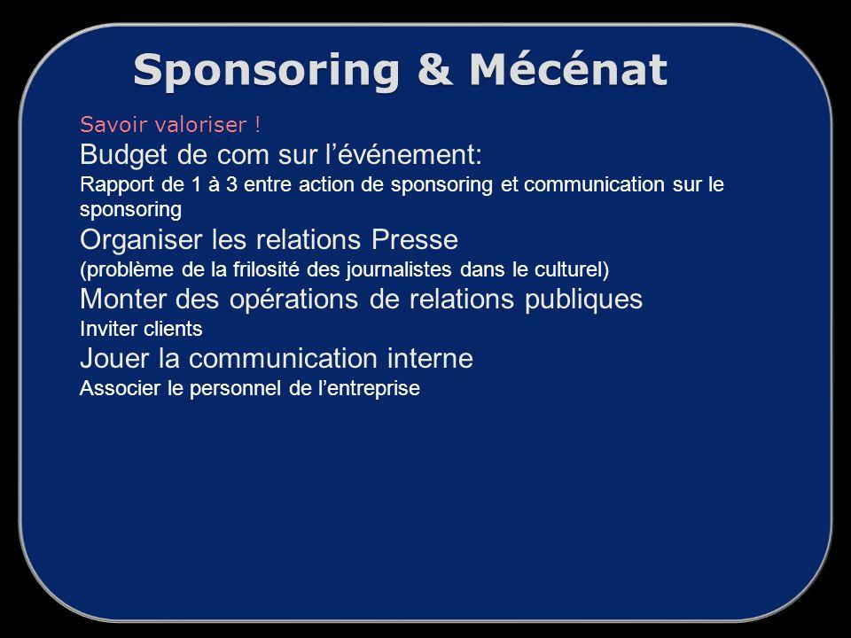 Sponsoring & Mécénat Savoir valoriser .