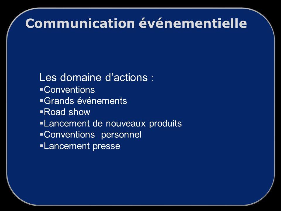 Communication événementielle Les domaine dactions : Conventions Grands événements Road show Lancement de nouveaux produits Conventions personnel Lancement presse