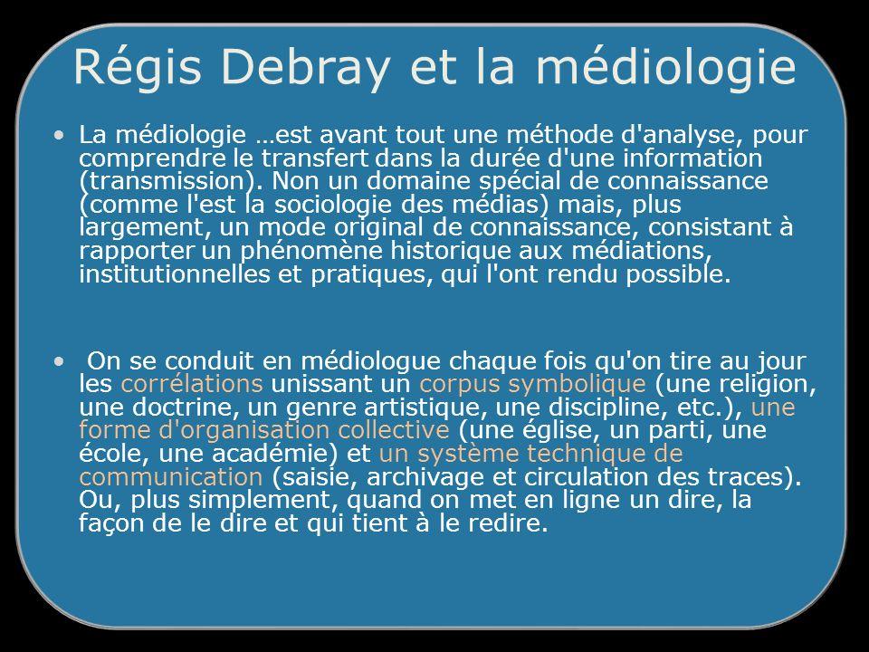 Régis Debray et la médiologie La médiologie …est avant tout une méthode d analyse, pour comprendre le transfert dans la durée d une information (transmission).
