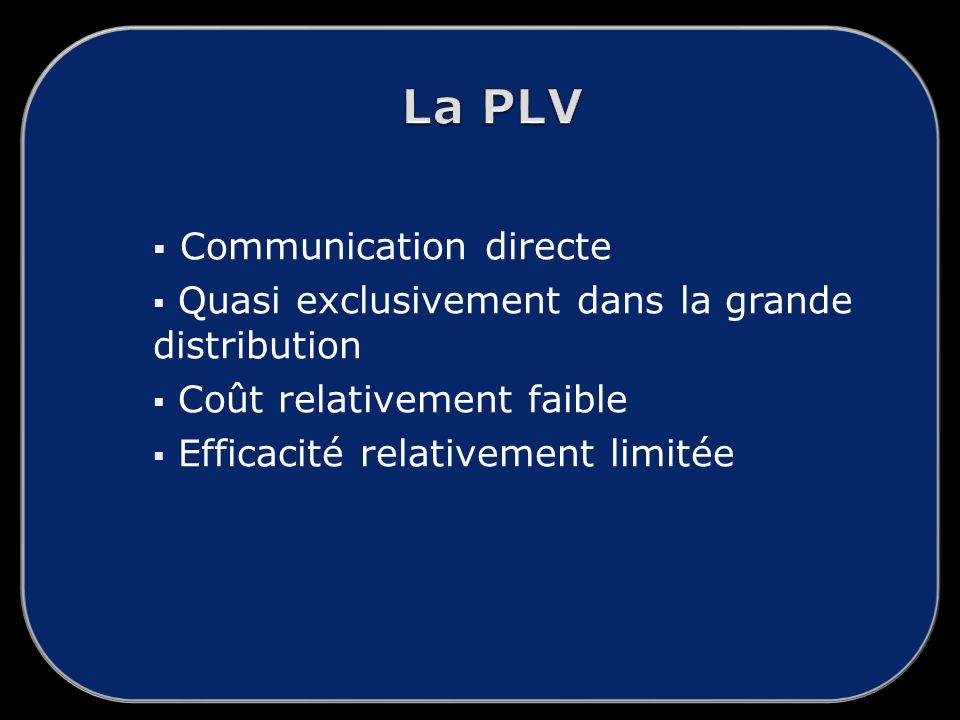 Communication directe Quasi exclusivement dans la grande distribution Coût relativement faible Efficacité relativement limitée