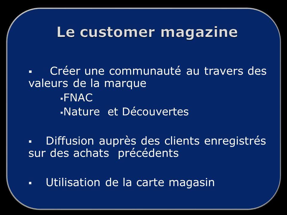 Créer une communauté au travers des valeurs de la marque FNAC Nature et Découvertes Diffusion auprès des clients enregistrés sur des achats précédents Utilisation de la carte magasin