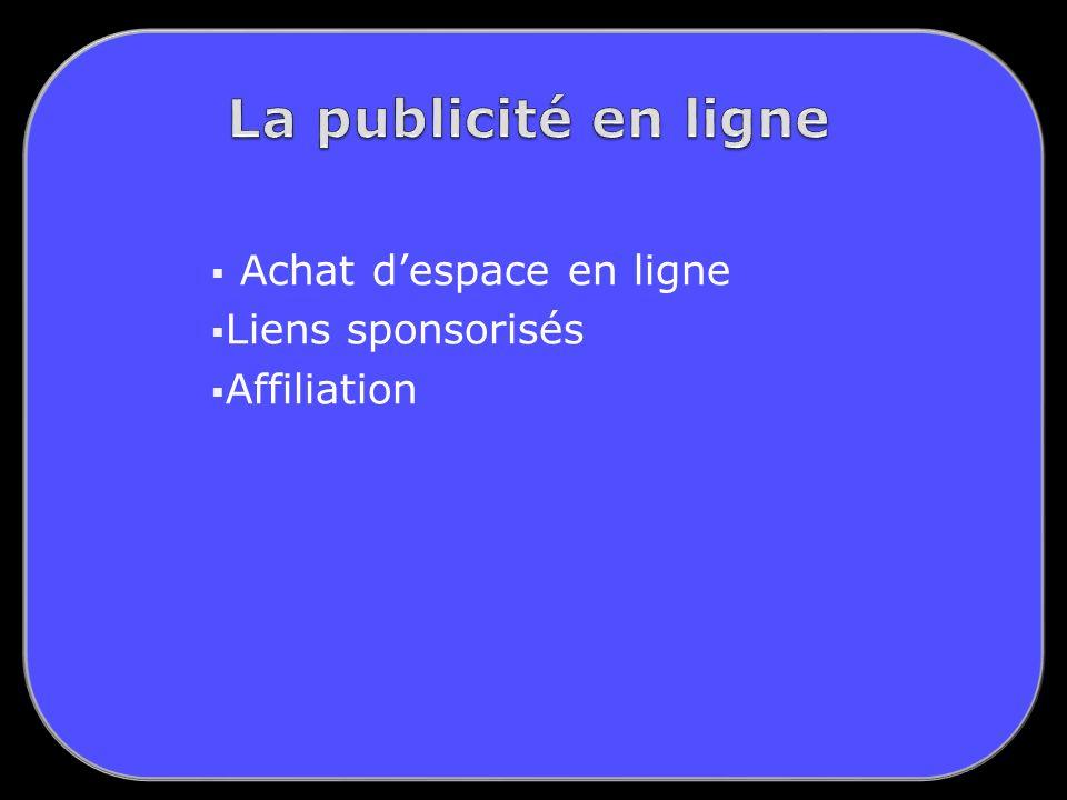 Achat despace en ligne Liens sponsorisés Affiliation