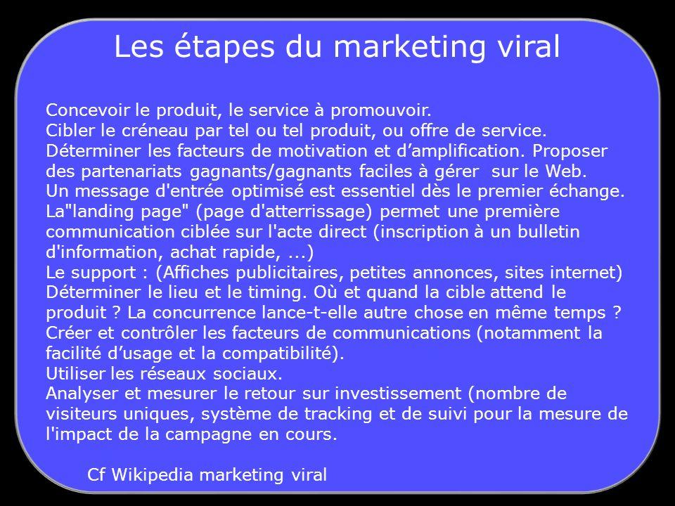 Les étapes du marketing viral Concevoir le produit, le service à promouvoir.