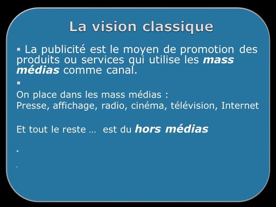 La publicité est le moyen de promotion des produits ou services qui utilise les mass médias comme canal.