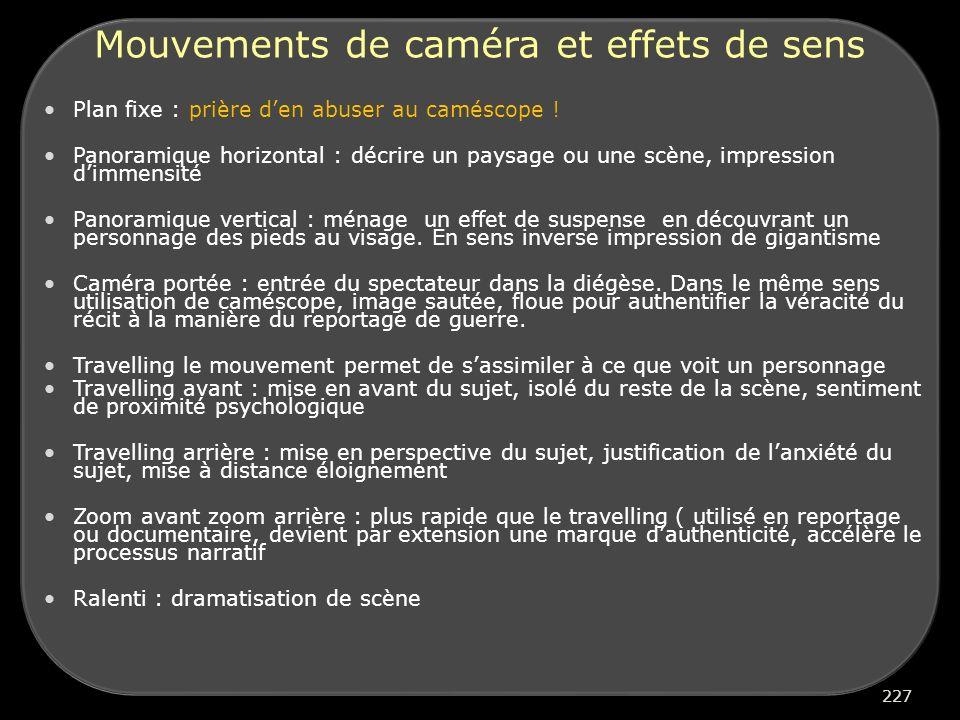 Mouvements de caméra et effets de sens Plan fixe : prière den abuser au caméscope .