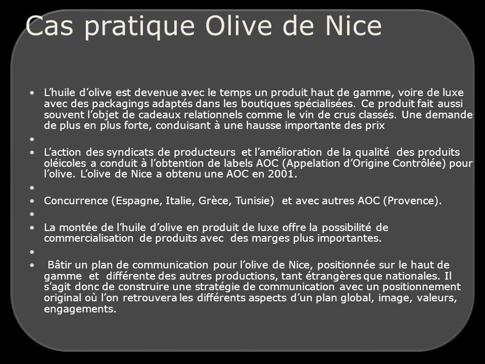 Cas pratique Olive de Nice Lhuile dolive est devenue avec le temps un produit haut de gamme, voire de luxe avec des packagings adaptés dans les boutiques spécialisées.