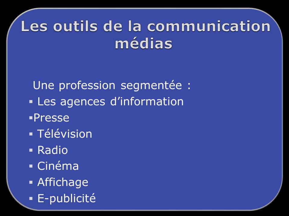Une profession segmentée : Les agences dinformation Presse Télévision Radio Cinéma Affichage E-publicité