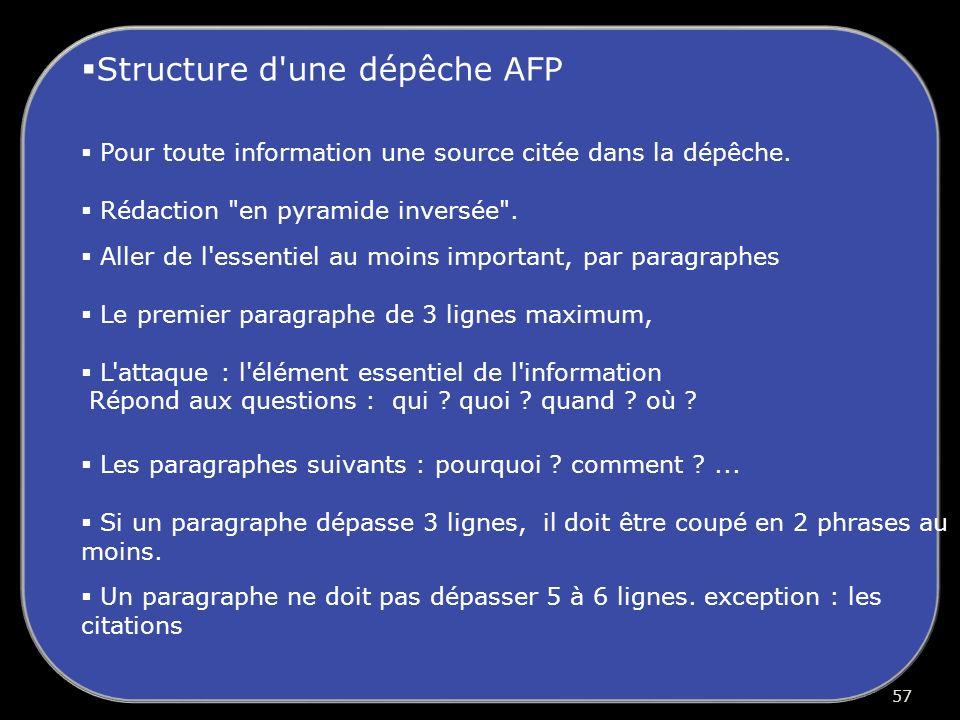 Structure d une dépêche AFP Pour toute information une source citée dans la dépêche.