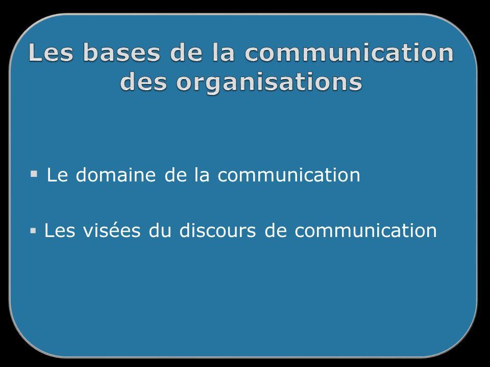 Le domaine de la communication Les visées du discours de communication