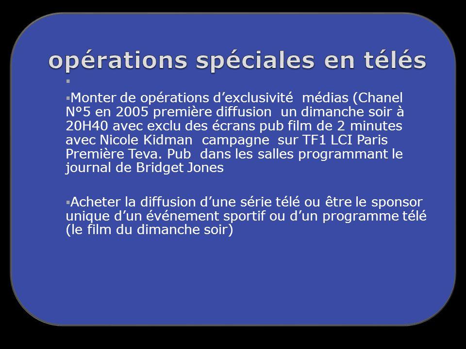 Monter de opérations dexclusivité médias (Chanel N°5 en 2005 première diffusion un dimanche soir à 20H40 avec exclu des écrans pub film de 2 minutes avec Nicole Kidman campagne sur TF1 LCI Paris Première Teva.