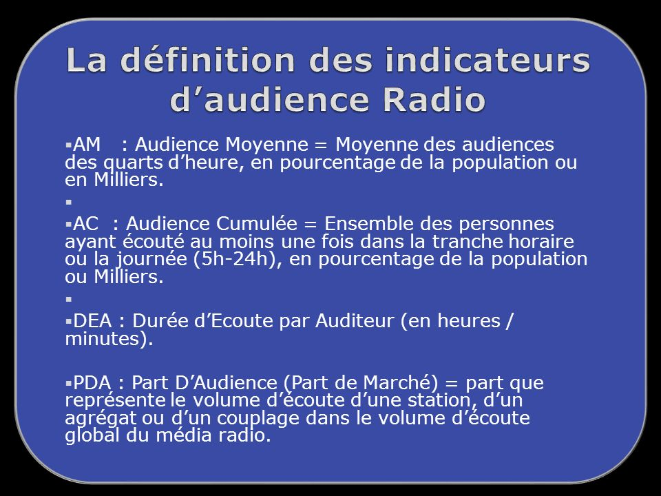 AM : Audience Moyenne = Moyenne des audiences des quarts dheure, en pourcentage de la population ou en Milliers.