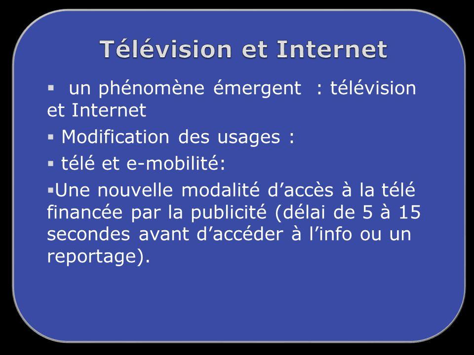 un phénomène émergent : télévision et Internet Modification des usages : télé et e-mobilité: Une nouvelle modalité daccès à la télé financée par la publicité (délai de 5 à 15 secondes avant daccéder à linfo ou un reportage).