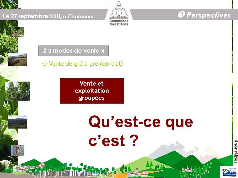 Le 27 septembre 2011, à Chamonix Perspectives 2 « modes de vente » Vente de gré à gré (contrat) Vente et exploitation groupées Quest-ce que cest