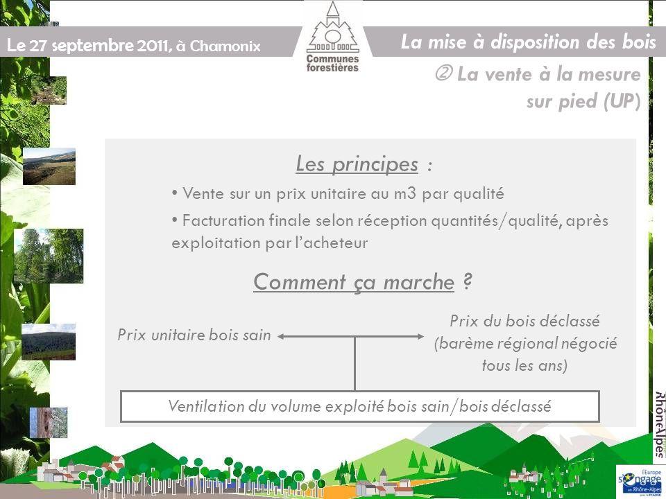 Le 27 septembre 2011, à Chamonix La vente à la mesure sur pied (UP) Les principes : Vente sur un prix unitaire au m3 par qualité Facturation finale selon réception quantités/qualité, après exploitation par lacheteur Comment ça marche .