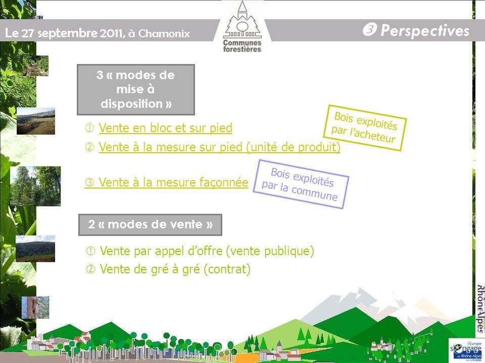 Le 27 septembre 2011, à Chamonix Perspectives 2 « modes de vente » Vente de gré à gré (contrat) Vente et exploitation groupées Quest-ce que cest ?