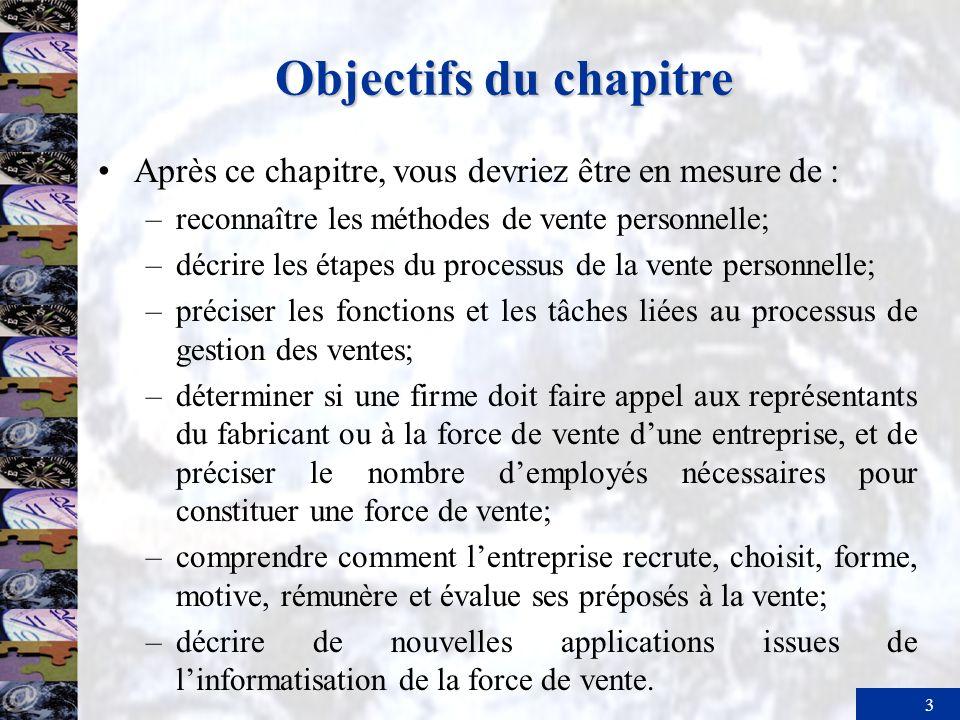 3 Objectifs du chapitre Après ce chapitre, vous devriez être en mesure de : –reconnaître les méthodes de vente personnelle; –décrire les étapes du pro