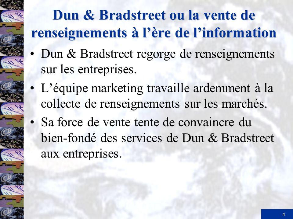 4 Dun & Bradstreet ou la vente de renseignements à lère de linformation Dun & Bradstreet regorge de renseignements sur les entreprises. Léquipe market