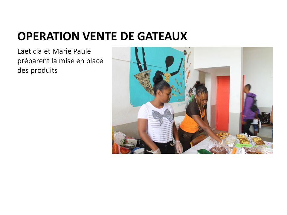 OPERATION VENTE DE GATEAUX Laeticia et Marie Paule préparent la mise en place des produits