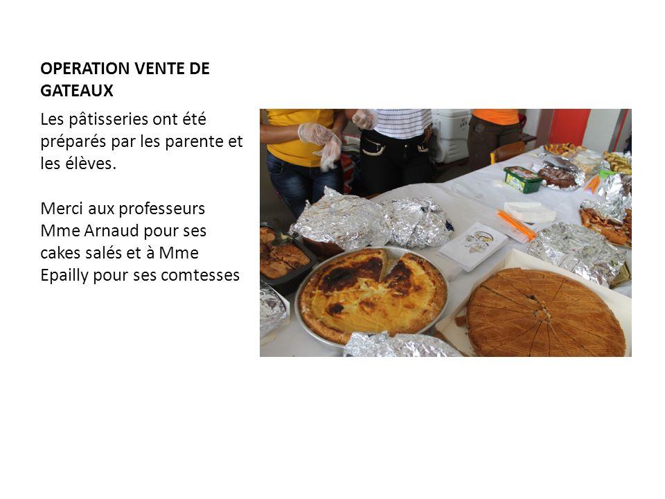 OPERATION VENTE DE GATEAUX Les pâtisseries ont été préparés par les parente et les élèves. Merci aux professeurs Mme Arnaud pour ses cakes salés et à