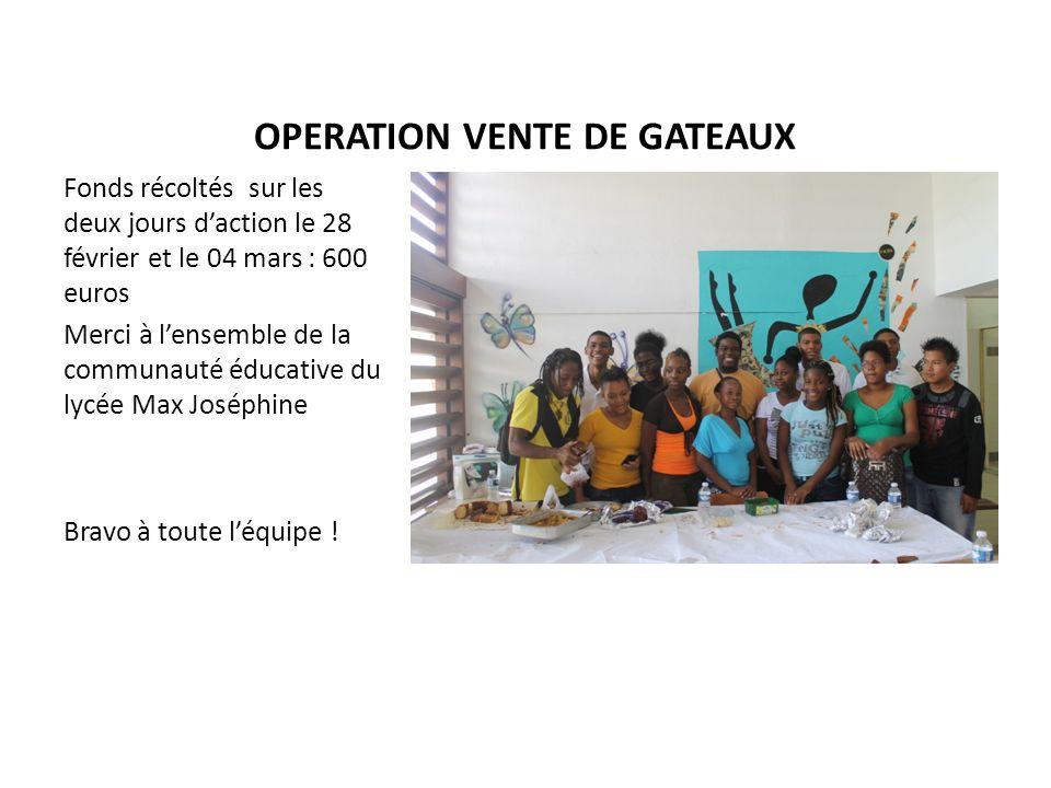 OPERATION VENTE DE GATEAUX Fonds récoltés sur les deux jours daction le 28 février et le 04 mars : 600 euros Merci à lensemble de la communauté éducat