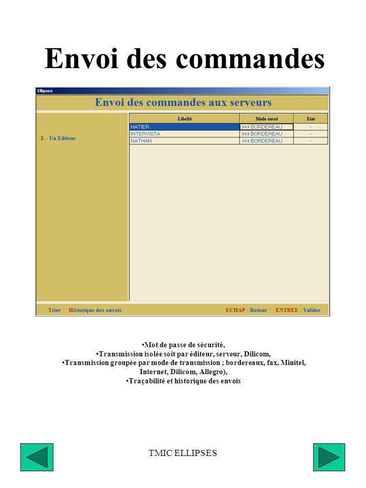 TMIC ELLIPSES Aide a la validation des commandes Historique des mouvements sur 48 mois en entrée, vente et retours, Visualisation du stock réel, réser