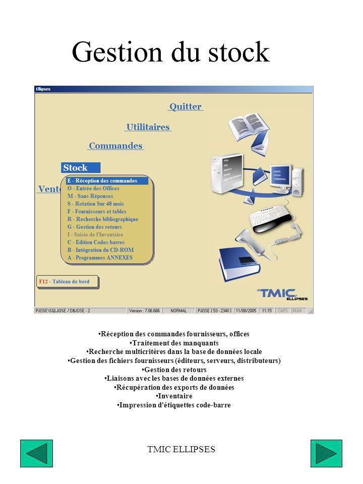 TMIC ELLIPSES Envoi des commandes Mot de passe de sécurité, Transmission isolée soit par éditeur, serveur, Dilicom, Transmission groupée par mode de transmission ; bordereaux, fax, Minitel, Internet, Dilicom, Allegro), Traçabilité et historique des envois