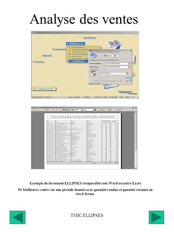 TMIC ELLIPSES Compléments de gestion Toutes les éditions disponibles dans ELLIPSES sont récupérables dans les différents programmes Windows WORD EXCELL et en divers autres Formats ; CSV, WK1, DOC, RTF, PDF, XLS …….