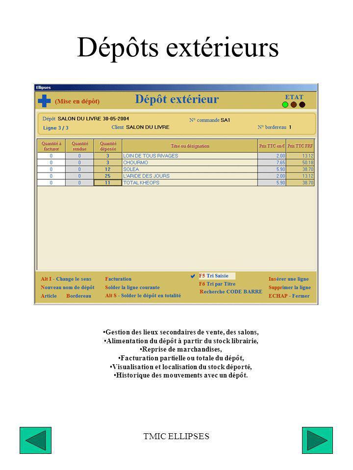TMIC ELLIPSES Recherche mixte Bases DILICOM & PLANETE-LIVRE Recherche locale dans la base Dilicom (fichier FEL) Recherche externe dans la base Planete Livre (CD ou site Internet) Récupération des paniers d export