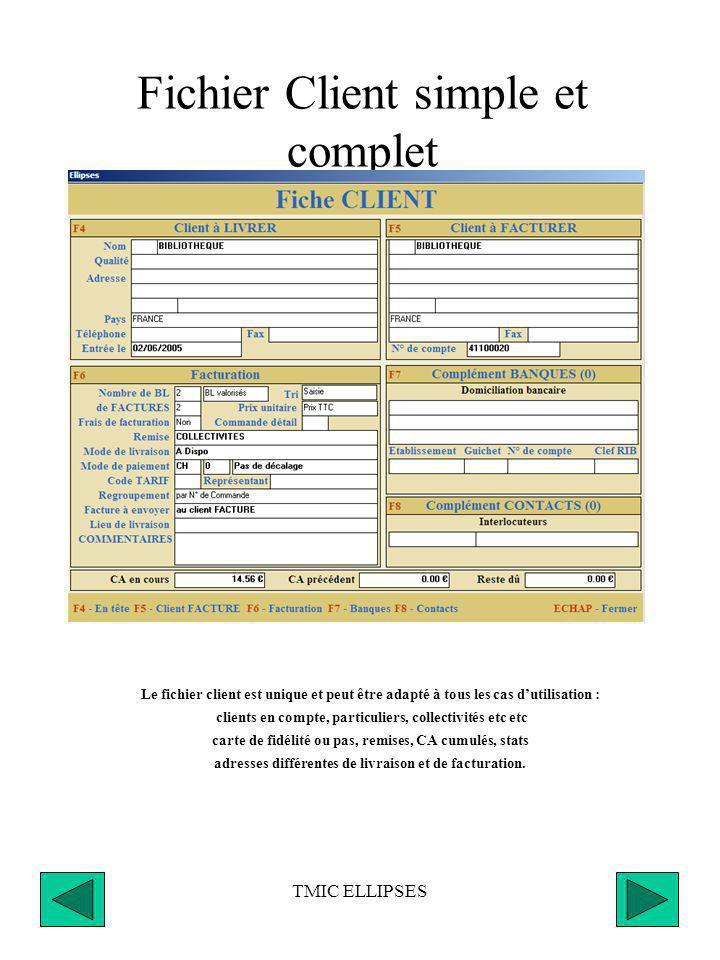 TMIC ELLIPSES Échéancier Saisie des règlements partiels ou complets de factures, Tous modes de paiement (chèque, virement, avoir, acompte, etc...), Po