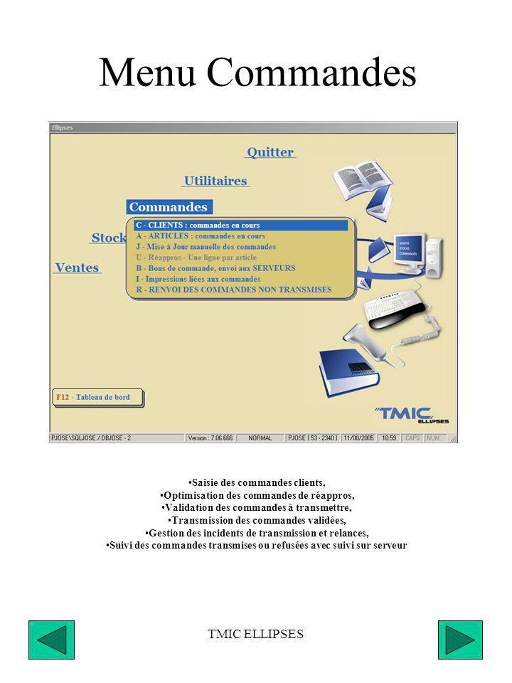 TMIC ELLIPSES Menu Commandes Saisie des commandes clients, Optimisation des commandes de réappros, Validation des commandes à transmettre, Transmission des commandes validées, Gestion des incidents de transmission et relances, Suivi des commandes transmises ou refusées avec suivi sur serveur
