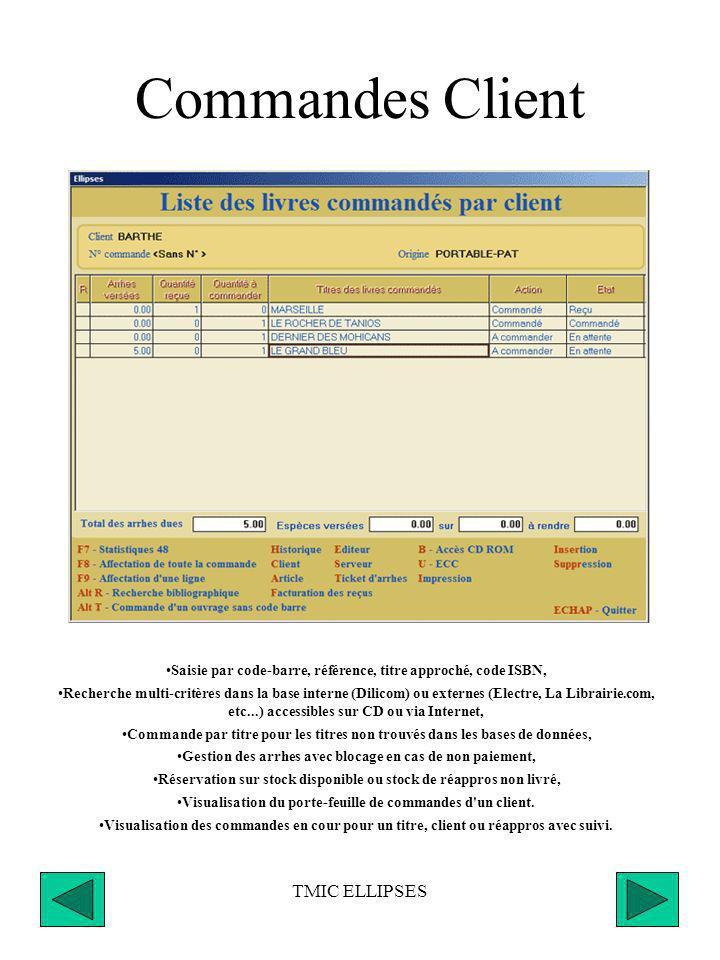 TMIC ELLIPSES Menu Commandes Saisie des commandes clients, Optimisation des commandes de réappros, Validation des commandes à transmettre, Transmissio
